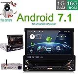 Android 7.1 4-Core-1GB 16GB Einzel Din 7 Zoll Touch Screen, MP3 / USB/SD/AM/FM Autoradio-7 Zoll-Digital-LCD-Monitor, abnehmbare Frontplatte, Wireless Remote, Multi-Color Illumination CD...