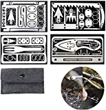 ZANLION 4Pcs Credit Card Survival Tool 22 in 1 Fishing Gear Hook Card, EDC Wallet Survival Multi Tool Card Size for Fishing Camping Hiking Hunting Emergency Kit,with Bag (Silber)