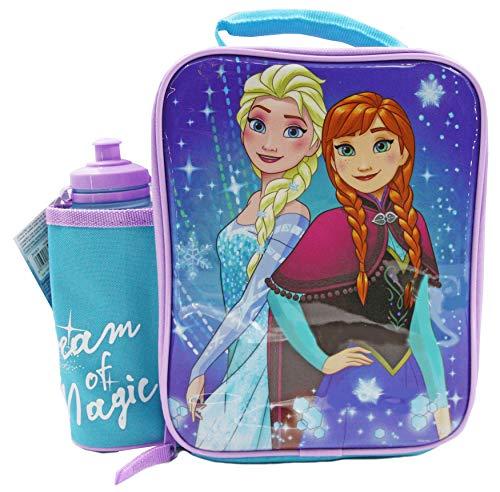 DISNEY Frozen - Juego de fiambreras con botella, contenedor de alimentos para niños, bolsa térmica para el almuerzo