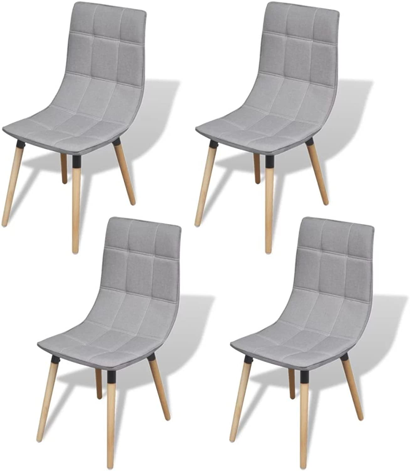 Festnight Dining Chairs Household Stool Fabric Office Stool 4 pcs Light Grey