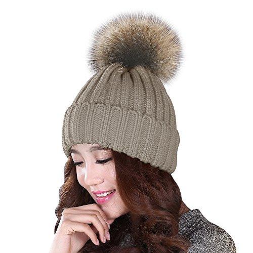 Yidarton Mütze Damen Winter Kaschmir Strickmütze Damen Pom Pom Beanie Hüte Winter-Mütze