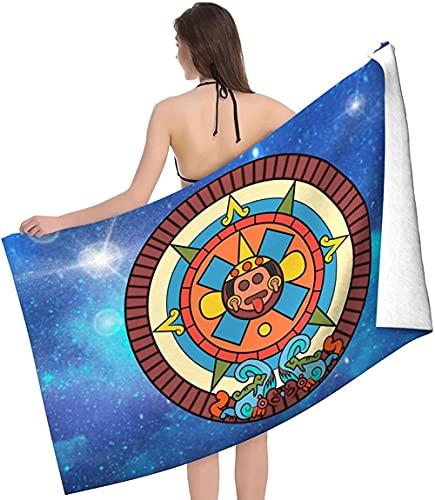 Toalla de Playa,Toalla de Playa de Microfibra ,Arte-Calendario-Maya-Azteca,Toalla de baño Unisex Manta de Picnic Accesorios de Camping 130x80cm