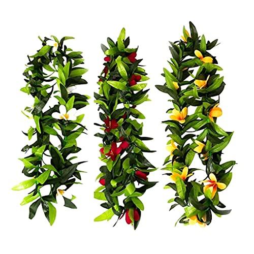3pcs Hawaiian Luau Tropical Flower Leaf Leis Necklace Garland for Summer Beach Party Decoration