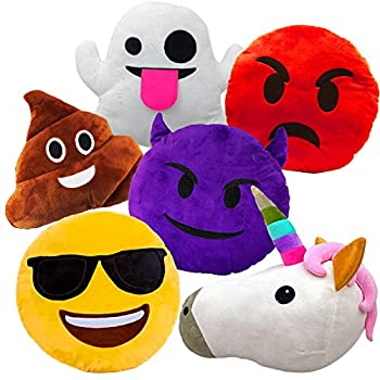Liberty Imports Large Emoji Plush Pillows Bundle 13 Inches  32 cm  Jumbo Stuffed Cushion Pillows Set with Poop Devil Unicorn Ghost Angry Smiley  Set of 6