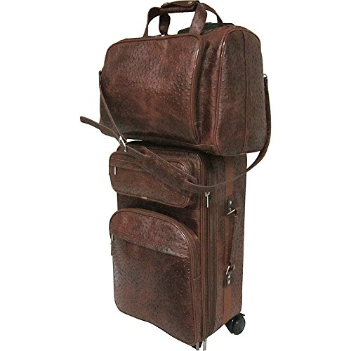 Amerileather Brown Ostrich Print Leather Two Piece Set Traveler