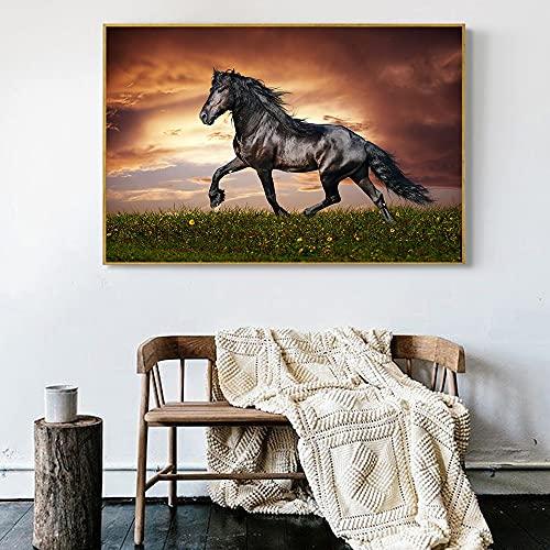 Puzzle 1000 piezas Movimiento caballo oscuro arte animal pintura puzzle 1000 piezas Rompecabezas de juguete de descompresión intelectual educativo divertido juego familiar par50x75cm(20x30inch)