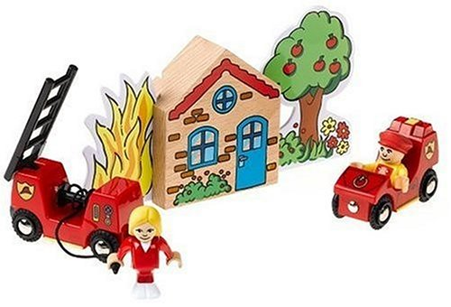 Brio - Circuit de train en bois - Coffret brigade des pompiers