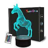 Regalos de caballo para niñas, lámpara de ilusión LED 3D de 16 colores cambiantes de toque y control remoto para niños y niñas.