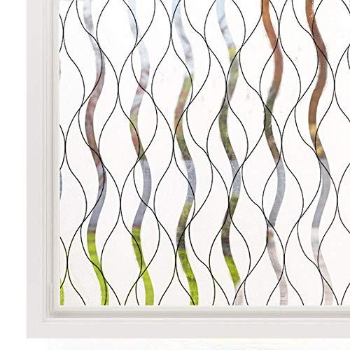 KUNHAN raamsticker Vinyl raamfolie statische privacydecoratie zelfklevende folie UV blokkerende hittecontrole glas raamsticker