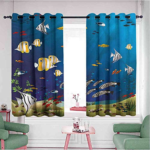 Aquarium Room Divider Curtian Panels 63 inch Length, Fishes in The Deep Ocean Double Layer Curtians(55x63 Inch, Multicolored)