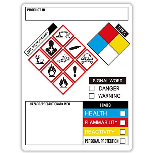 GHS Labels, SDS OSHA Labels for Chemical Safety Data, 3 x 4 Inch Roll of 260 MSDS Stickers with GHS
