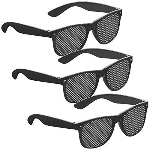 PEARL Lochrasterbrille: 3er-Set Lochbrillen zur Augen-Gymnastik und -Entspannung, schwarz (Rasterbrillen)