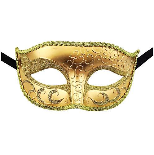 Luxury Mask Unisex Masquerade Venetian Mask (One Size, Gold)