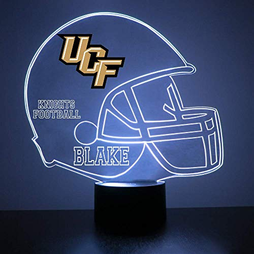 College Football Helmet Sports Fan Lamp/Night Light - LED - Personalize for Free - Featuring Licensed Decal (Knights (UCF))