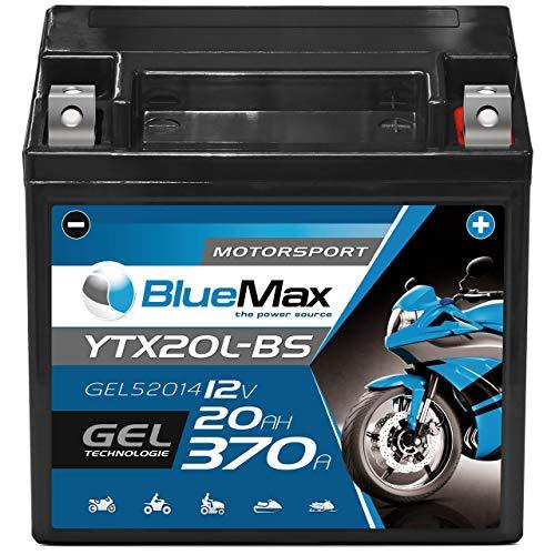 Motorradbatterie 12V 20Ah BlueMax CTX20L-BS GEL Batterie 52014 Quad YTX20L-BS