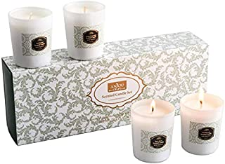 Anjou Scented Candle 4 Pack Gift Set, Includes Pear Freesia, BlackBerry Bay, Orange Peppermint, 20 Hours Burn Time Per Cup, 4 x 70 g Stress Relief, 4 x 70g, White