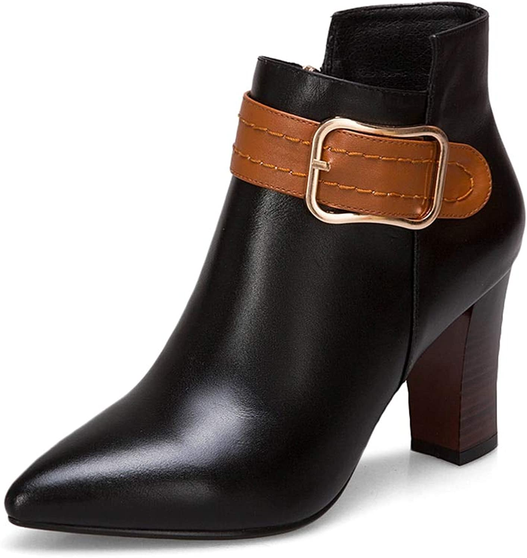 HOESCZS 2018 Marke große große große größen 33-43 echtes Leder Damenschuhe Frau Stiefel High Heels Stiefeletten Frau Party Schuhe, B07P9P1VTQ  Niedriger Preis bfba52