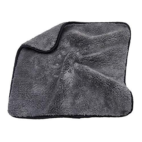 LPOQW Toalla de lavado de coche espesar absorción de agua Coral Fleece Toalla de limpieza de coche doble cara alta densidad disco accesorios de limpieza, borde negro gris
