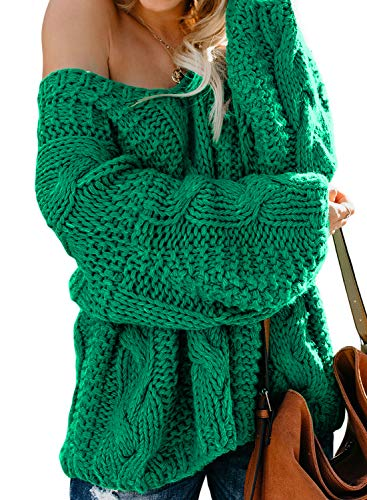 Astylish Womens Chunky Off Shoulder Loose Fit Oversize Comfy Knitted Pullover Sweater Jumper Green Medium
