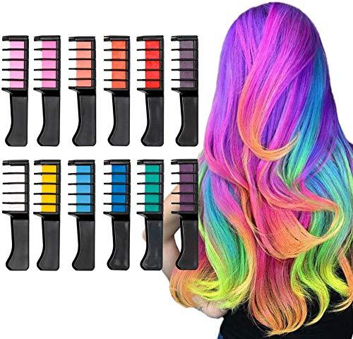 Haarkreide-Kamm, 12 Farben, temporär, waschbar, Haarfarbe für Kinder, Jungen und Mädchen, Haarfärbung, Party, Weihnachten und DIY