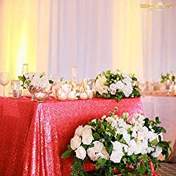 Red Rectangular Sequin Tablecloth