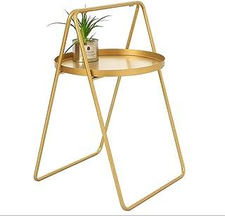 HXCD Table Basse Table Basse Nordique Fer Forgé Balcon Table Salon Canapé Activité Poignée Petite Table Ronde Simple Moder...