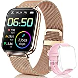 QAAEEDY Smart Watch for Android Phones iOS,Fitness Tracke with Heart Rate Blood Oxygen Sleep Monitor IP68 Waterproof Smart Watch Compatible iPhone Samsung Smart Watches for Women Men (Gold)