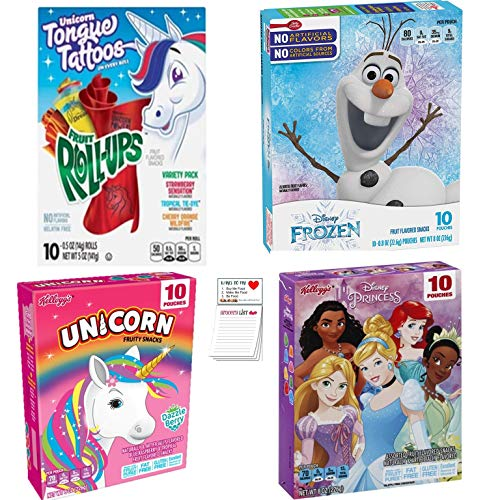 Fruit Snacks Variety Pack 40 Individually Wrapped | Kid's Favorites | Frozen | Unicorn | Disney Princess | Fruit Roll-ups  Snack Fun Shopping Pad