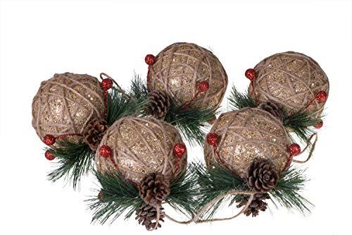 Clever Creations - Set de 5 bolas grandes para árbol de Navidad - Resistentes a los golpes - Ideales para cualquier estilo decorativo - Lana de yute marrón y detalles dorados con piñas y bayas - 80 mm