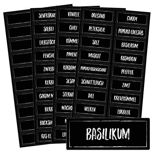 Chroma Products Gewürzetiketten selbstklebend - 76 Schwarze Gewürzaufkleber in Kreideschrift-Optik - Aufbewahrung für Regale oder Dosen - beschriftet, wasserfest, 5,2 x 2,0 cm