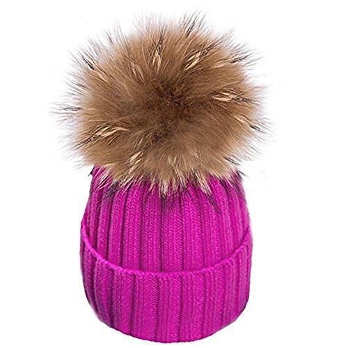Damen Echtfell Waschbär Fell Pelz Bommel Strick Mütze Winter-Mütze Bommelmütze (Hot pink)
