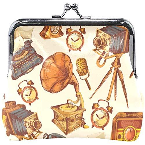 Portefeuille retro apparaten CD telefoon horloge camera munten portemonnee tassen leer wisselhouder kaart clutch handtas