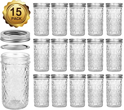 Mason Jars 12 OZ, VERONES Canning Jars Jelly Jars With Regular Lids, Ideal for Jam, Honey, Wedding Favors, Shower Favors, Baby Foods, 15 PACK