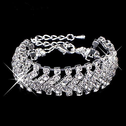 WOVP Armband 1 Stücke Hohe Qualität Exquisite Design Kristall Shiny Strass Breite Armreifen Armband Für Frauen Schmuck