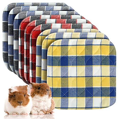 Pack of 9 Guinea Pig Washable Pee Pads- 12 × 12 Inch Fast Absorbent Non-Slip Guinea Pig Beddings Reusable Cage Liners for Puppy, Rabbits, Hamsters, Bunnies, Gerbils, Other Small Animals
