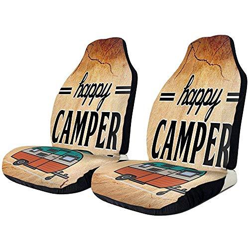 Beth-D Happy Camping autostoelhoezen, 2-delige set autostoelbeschermers, automatovertrekken, universele pasvorm, volledige set