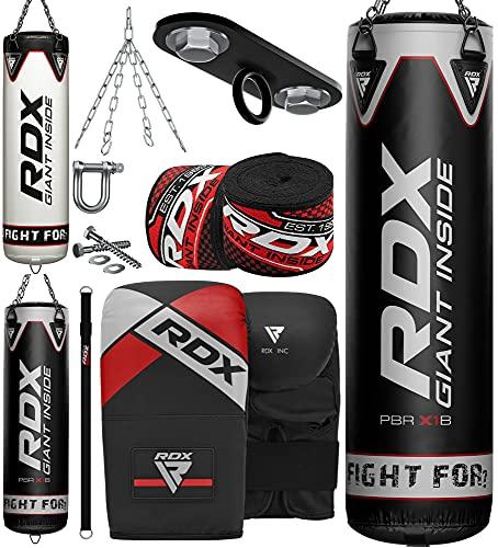RDX Punching Bag Heavy Boxing Bag, 8pc Filled 4ft 5ft Anti Swing Kickboxing Adult Set, Maya Hide...