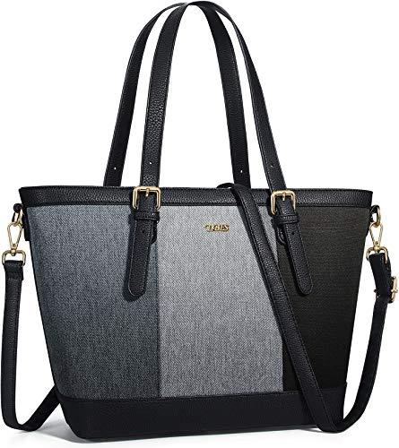 TIBES Damen Handtasche Shopper Damen Groß PU Leder Handtasche Schultertasche Gross Damen Tasche Einkaufstasche Schwarz