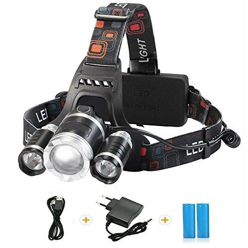 TKSTAR linterna frontal Headlamp 6000 lumens 18650 recargables LED Casco Luz cabeza linterna de brillo con 4 modos para uso deportivo Jinete camping Ju l002