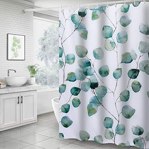 Cysincos Duschvorhang Textil, Blätter Blumen 180x200cm, Wasserdicht Badewannen Vorhang, Digitaldruck Wannenvorhang, Polyester Badvorhang mit 12 Duschvorhangringen