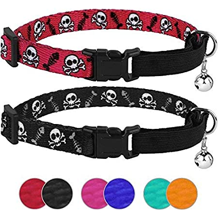Dog and Cat Id Red Pink and Blue Skull