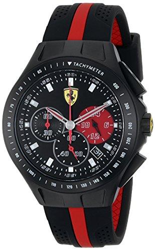 Reloj de cuarzo negro, Ferrari pantalla analógica