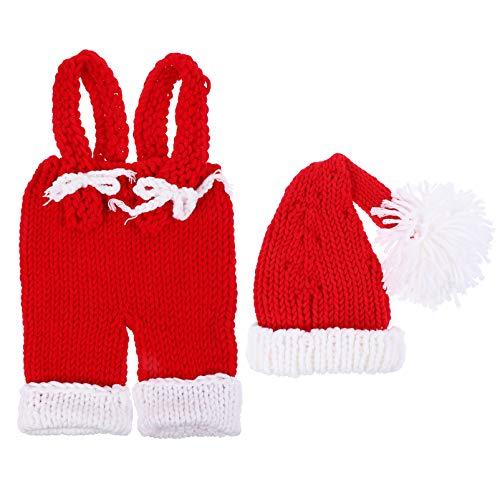 VALICLUD 2 Piezas de Navidad Bebé Santa Hat Mamelucos Crochet Beanie Gorro de Punto Gorras de Media Accesorios de Fotografía de Bebé para Niños de 0 a 6 Meses Niñas Bebé Recién Nacido Niño