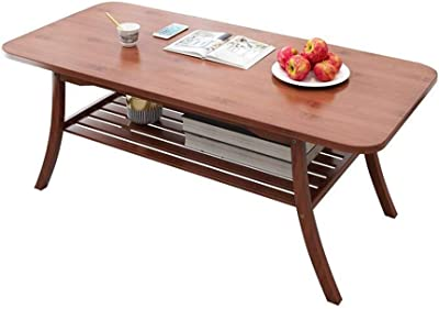 YGGDO SHOPS Tables, Coffee Natural Bamboo Finish Bottom Shelf Versatile Practica (Color : Retro Colors)