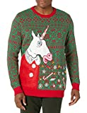 Blizzard Bay Men's Unicorn Vomit Ugly Christmas Sweater, green, Large
