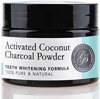 Charcoal Teeth Whitening Powder   100% Organic & Natural   Safe & Effective Whitener for Normal & Sensitive Teeth - Get Whiter & Brighter Results with Active Coconut Charcoal by Grace & Stella Co.