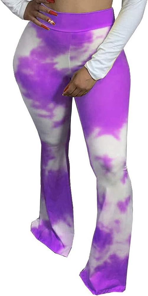 lookwoild Women High Waist Flare Pants Printed Bootcut Bell Bottoms Comfy Plus Size Floor Length Palazzo Trousers (Tie Dye-Purple, XXXL)