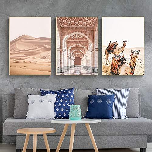 liwendi Marokkanische Tür Kamel Wüste Landschaft Nordic Poster Und Drucke Kunst Leinwand Malerei Wohnzimmer Dekoration 21X30Cmx3