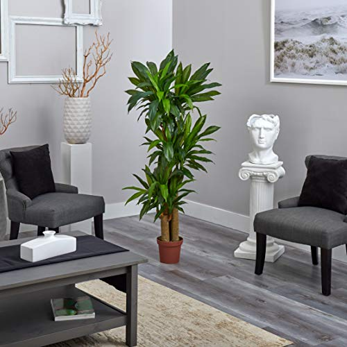 """Nearly Natural 57in Corn Stalk Dracaena Silk Plant 57 inches tall (Real Touch), 62.5"""" x 9"""" x 9"""", Green"""