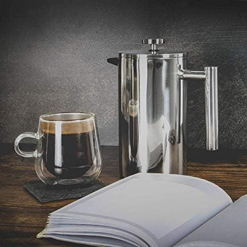 Presse française Cafetière | Machine à café en acier inoxydable | FREE Extra Filters / Cuillères à mesurer / Clip pour sachets | M&W (1000ml)